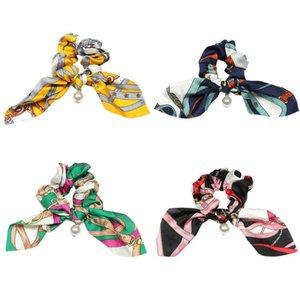 Bowknot Silk Hair Scrunchies Women Pearls Accessories Rubber Hair Rope Ponytail Holder Bows Hair