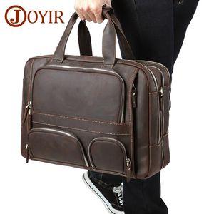 "JOYIR Genuine Leather Business Briefcases Bag Men High Qaulity 17"" Laptop Messenger Bag Office Travel Bags Handbag Portfolio"