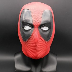 Maschera Supereroe Deadpool 2 testa piena lattice Halloween Party Cosplay mascherina rossa costume Regalo di Halloween Props