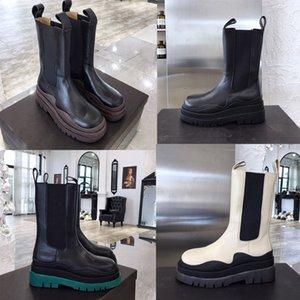2020 novas botas de marca de moda senhora inicialização PNEU BOTAS mulheres plataforma robusta mulheres de luxo designer de inicialização botas Mid-Calf botas de grife