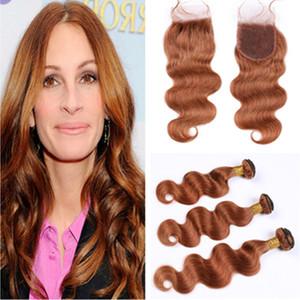 """Brasiliani medie Auburn umani 3Bundles capelli con chiusura dell'onda del corpo di # 30 Auburn Virgin capelli tessiamo le estensioni con chiusura del merletto pezzo 4x4"""""""