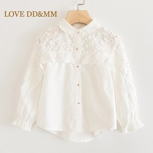 LOVE DD&MM Girls Shirts 2020 Spring Children's Clothing Girls Flower Hollow Embroidery Sweet Lace Side Stand Long-Sleeved Blouse Y200704