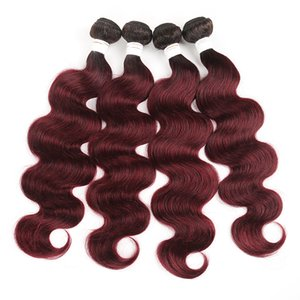 Color Brazilian Body wave Hair Bundles with Closure1b 99J Red Burgundy Human Hair for black woman