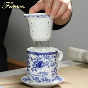 Çay Filtre T191024 ile Saucer Kapak demlik 260ml Seramik Teacup ile Retro Çin Mavi Beyaz Porselen Çay Fincan Seti