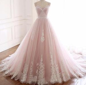 Elegante abito da sposa a pieghe a line 2019 Sexy Spaghetti cinghie Appliques Princess Abito da sposa Vestido de Noiva
