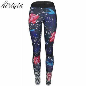 2017 Mulheres Yoga Calças de cintura alta esporte funcionar Folha Floral GYM Series joggings Imprimir fitness exercício Traning Leggings
