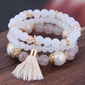 2019 Bohême 3pcs / Set Tassel Charm Pendentif Perles Bracelets pour femmes Bijoux Simulé perle Womens Bracelet Set Boho