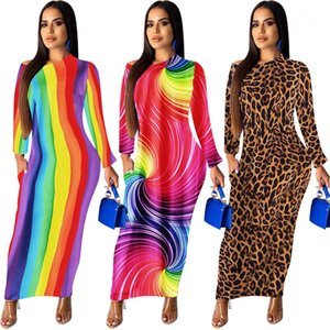 Ombro Womens Summer Long Sleeve Bodycon Vestidos magro Lond Vestidos Leopard arco-íris floral das mulheres Vestidos Verão Off