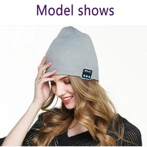 Трикотажная Bluetooth гарнитура Cap беспроводного Смарт Музыка зимней вязаные шапочки Открытого Отопление Fashion Party Hat LJJA2950
