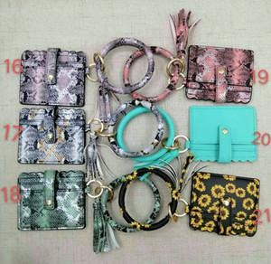 Keychain Handbag Wth Card Wallet Holder Wristlet Keyring Leopard Tassel Bracelet Keychain Credit Bag Bangle Card Bracelet Favor RRA3196 Gsql