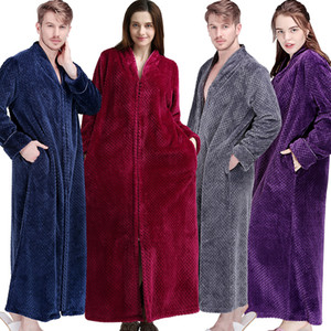 Women Winter Extra Long Thick Warm Bath Robe Plus Size Zipper Luxury Flannel Peignoir Pregnant Bathrobe Men Coral Fleece Robes