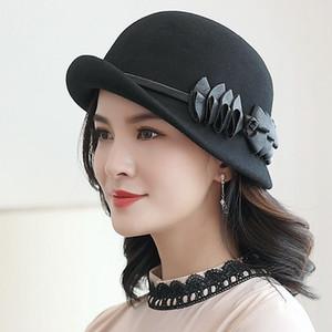 Beckyruiwu Lady Sonbahar Ve Kış Şık Düzensiz Brim Fedora Şapkalar Kadın Partisi Biçimsel Üst Sınıf% 100 Yün Şapka Keçe