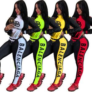 Марка Женщины Tracksuit Набор из двух частей Костюмы Спортивная с длинным рукавом Беговая Спортивные куртки Леггинсы Костюмы Clubwear Плюс Размер Женская одежда 25