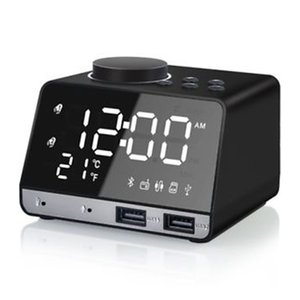 Wireless Bluetooth Bass Speaker FM Radio Mirror LED Dual Alarm Clock USB Charger(Black,EU Plug)