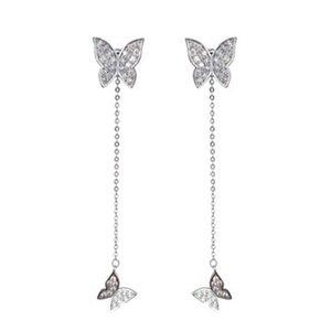 925 Sterlingsilber-Schmetterlings-Kristall-Ohrringe für Frauen Dazzling Micro CZ Zircon Ohrring Weihnachtsgeschenk Bijoux Schmuck