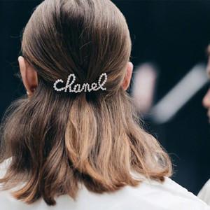 Модные боковые зажимы алмазов шипованных Clips Большой волос с жемчугом Мода Письмо Аксессуары для волос Черный Серебро и золото