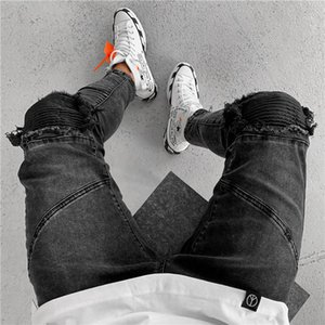 Mens Beliebte Loch Vintage-Jeans Zipper Burrs Bleistift-Hosen Art und Weise Schwarz-Sommer-beiläufige mittlere Taille der Männer