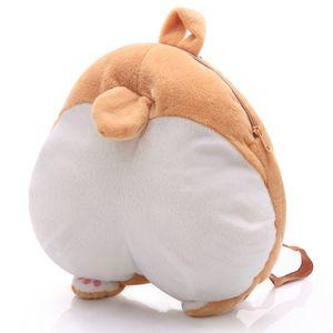 1pc 38cm * 36cm Peluş Corgi Sırt Çantası Sevimli Hayvan Köpek Peluş Çocuk Okul Çantaları Çocuklar için Yaratıcı Hediye