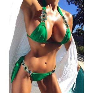 Alta calidad 2018 Diamond vendaje Bikinis Dividir traje sólido bikiní de las señoras del traje de baño del triángulo del Rhinestone de baño brillantes joyas Correa Monkinins