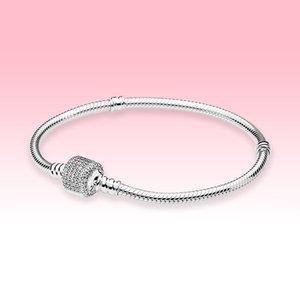 CZ Diamant Barrel förmigen Haken Armband 925 Sterling Silber Schmuck für Pandora Funkelnden Pavé Haken Schlange-Kettenarmband mit ursprünglichem Kasten