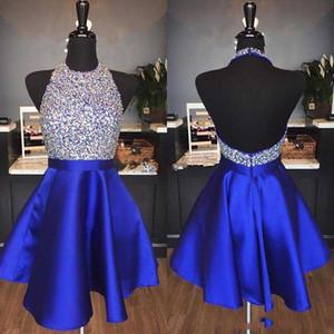 Бесплатный корабль 2019 Royal Blue Bearly HomeComing платья на вершине Line Hater Backless Bearing короткие вечеринки платья для выпускного вечера Abiti Da Ballo Custom