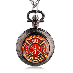 New Fashion Red Fire Fighter Control Pocket Watch Pendant Fire Dept Necklace Fob Watch Man Women's Gift TPM008