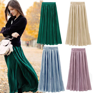 Spring Summer Fshion Pleated Skirt Women's Vintage High Waist Skirt Solid Long Skirts New Fashion Metallic Female