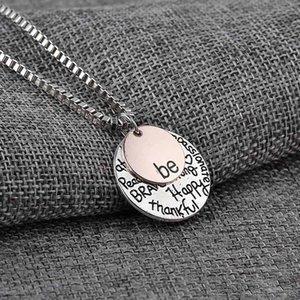 """""""Seja"""" Graffiti amigo Admirável feliz forte Thankfull pendente do encanto colares dois tons """"Seja"""" colar designer de colar carta de jóias """"Seja"""" Graffi"""