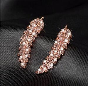 Promosyon fiyat! Şık kadın Altın Gümüş Rose Gold Zirkon Yaprak Küpe Twinkle lüks kristal Yaprak Küpe Sevgililer Günü hediyesi