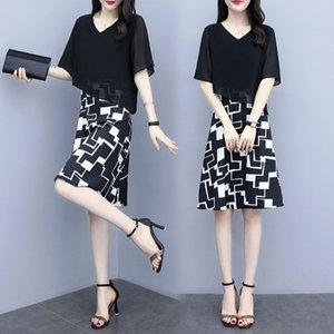 Large size women's 2020 fat sister fat MM dress slim foreign style fake two-piece chiffon dress fashion
