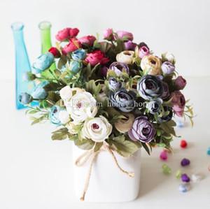 9 Cabeça / Bouquet Mini Chá Falso Rosa Peônia Flores Para Casa Decoração Do Casamento Artificial Rose Penoy Buquê de Flores Bud Para Decoração do Quarto