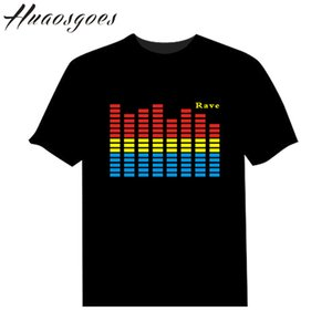 LED son Activated T-shirt Flash Light Up EL Equalizer LED Homme T-shirt Bar DJ rock Disco fantastique