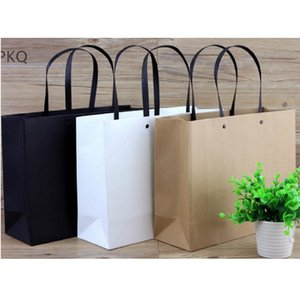 High Quality Portable Paper Bag Blank Black White Paper Gift Bag For Jewelry Party Favor Candy Clothing Shopping Bags
