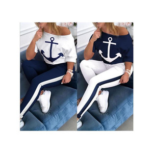 Women's Short-Sleeved T-Shirt Stripe Pencil Pants Printing Dyeing Anchor Two-Piece Blouse Lady Workout Casual Sports Set