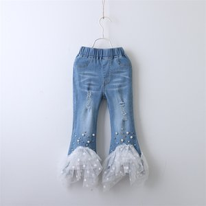 Fashion Summer Kids Girls Denim Jeans pearl lace hole Leggings Jeans Long Trousers children designer clothes denim pants