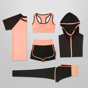 OLOEY Mulheres 5 Piece Set Yoga para Running T-shirt da aptidão Bra Sports Wear Gym Roupa Mulheres Workout Set Sports Suit Y200328