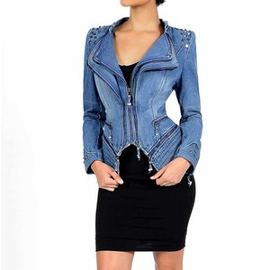 Young17 Women Gothic Rivetto blu grigio asimmetrico Punk Rock Denim Jacket Coat Plus Size 6xl Primavera Inverno Capispalla moto Y190827