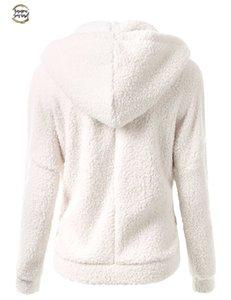 Yeni Kış Sonbahar Sıcak Ceket Kapşonlu S 5XL Casual Kadın Sweatershirt Coat Katı Yumuşak Polar Kadın Coat Ss214