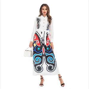 Yeni Beyaz Kelebek Baskı Rahat Gömlek Elbise kadın Düğme Uzun Kollu Fit Trompet Uzun Elbise Bahar Moda S-3XL Gömlek Robe Toptan Fre