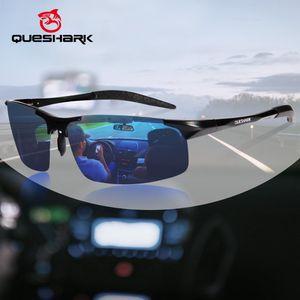 QUESHARK Мужской ГОРЯЧЕЙ Рыбалки поляризованных солнцезащитные очки для мужчин Al-Mg металлического каркаса Ultra Light Driving Пешеходного гольф спорт CX200704