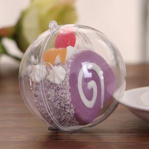 80mm وشفاف افتتاح البلاستيك الشفاف كاندي هدية مربع فيلابل الكرة الحلي ديكور الزفاف شجرة عيد الميلاد الديكور حزب اللوازم EEA325