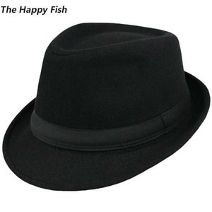 Cappello Fedora unisex originale in lana strutturata Cappellino fedora per uomo fedora testa di feltro taglia 58 cm
