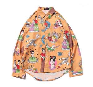 Mens Shirt Designer impression de dessin animé D'été Chemise Décontractée ulzzang Unique Poitrine Couple Vêtements japonais styles indigènes