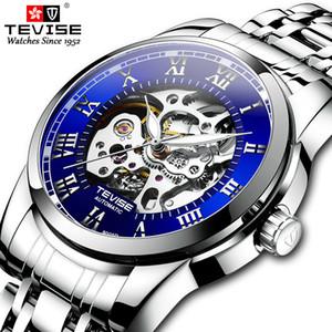 New Swiss TEVISE waterproof business model full automatic mechanical waterproof luminous Roman scale steel band men's Watch