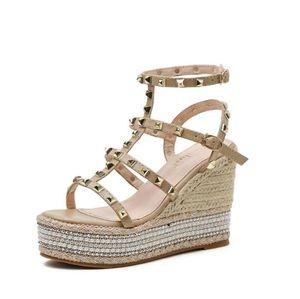 luxury Sexy Women wedge high heels Sandals platform Rivets open toes party wedding dress shoes designer fashion Beading Gladiator Sandal