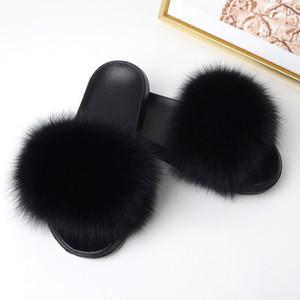 classico estate della moda davvero pantofole in lana volpe donne uno scarpe procrastina parola pelliccia maomao a sandali di usura piane antiskid