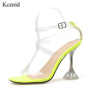 Kcenid Summe novo PVC sandálias sexy saltos claros tornozelo transparente alça de sandálias de salto alto festa as sapatas das mulheres Plus Size 35-42