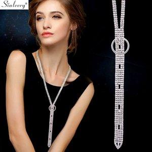 SINLEERY simple mousseux long collier pendentif chaîne cubique pleine Zirconia Couleur Argent Collier pour femmes Bijoux MY007 SSH