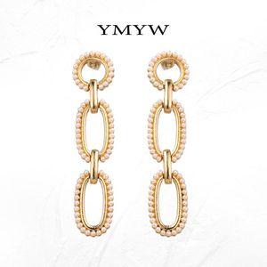 YMYW Elegant Romantic Pearl Long Multilayer Gold Dangle Drop Earrings 2020 Fashion Charms Women Wedding Party Oorbellen Gift