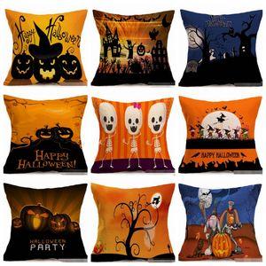 Kissenbezüge Halloween Cotton Linen Dekokissen Fall Hallowmas Kissenbezug Sofa Sitzhauptdekor-Kürbis-Schläger OwlPrinting22Style LQPYW1257